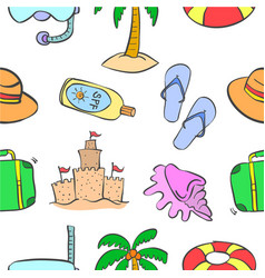 collection of cartoon summer theme pattern vector image