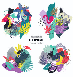 collection tropical plants flowers vector image