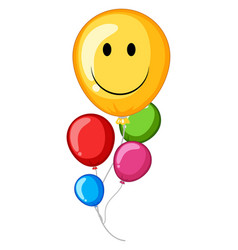Colorful balloons with happy face vector