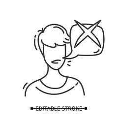 Consumer negative feedback icon line vector