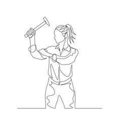 Continuous one line woman holds hammer in hand vector