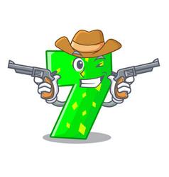 Cowboy character paper cut number seven letter vector