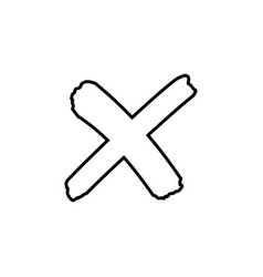 Cross outline sign or x mark icon no symbol vector