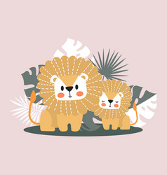 cute lions in jungle vector image