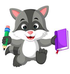 cute raccoon cartoon holding book vector image