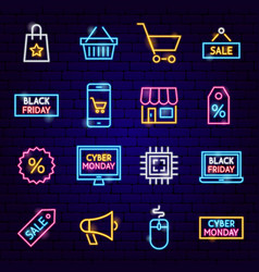 cyber monday neon icons vector image