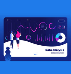 Data analysis landing big digital center vector
