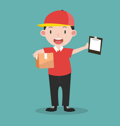 Deliveryman with boxes and clipboard vector