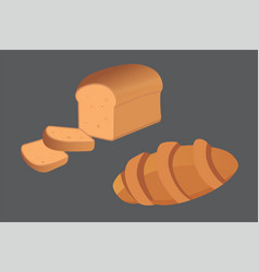 Different breads and bakery products vector