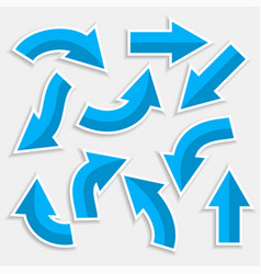 Directional arrows set in blue color style vector