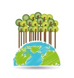 Earth save tree symbol icon vector