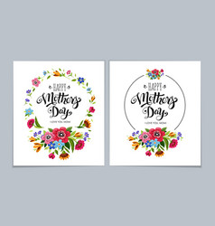 Elegant happy mothers day cards with lettering vector