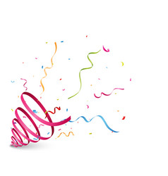 Exploding party popper with ribbon vector