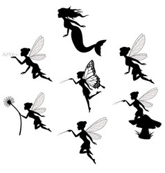 Fairy silhouette collections in white backgorund vector