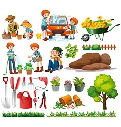 Family members doing chores and gardening vector