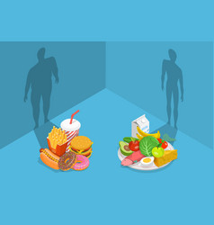 Fastfood vs balanced menu comparison what foods vector