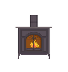 Fireplace made of metallic material isolated icon vector