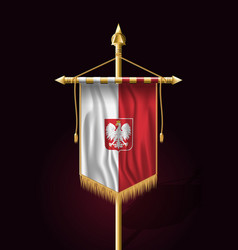 Flag of poland with eagle festive vertical vector