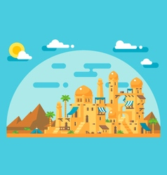 Flat design arab mud village vector image