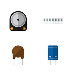 flat icon technology set of hdd transistor vector image