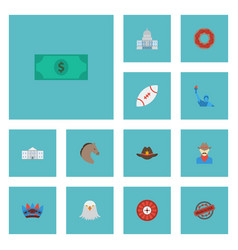 Flat icons greenback bird football and other vector