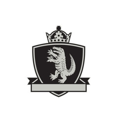 Gator standing side coat arms crest retro vector
