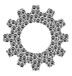 Gear wheel collage of paw footprint icons vector