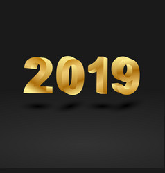 golden 2019 on black background vector image