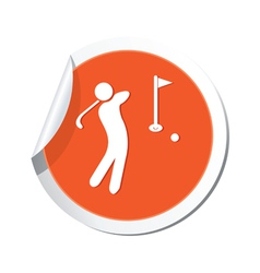 golf icon orange sticker vector image