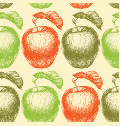 hand drawn apple seamless pattern in bright colors vector image