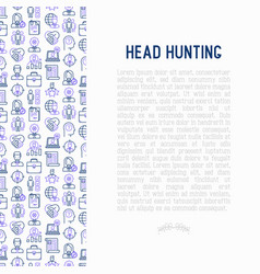 Head hunting concept with thin line icons vector