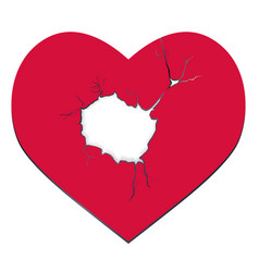 Heartbreak the red heart with a hole vector