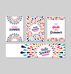 Hello summer german greeting card label set vector