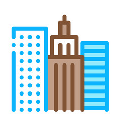 high-rise buildings view icon outline vector image