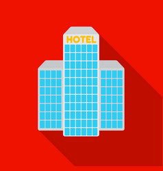 Hotel building icon in flat style isolated on vector