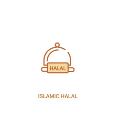 Islamic halal concept 2 colored icon simple line vector
