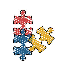 isolated puzzle design vector image