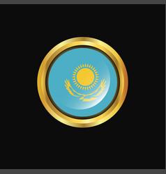 Kazakhstan flag golden button vector