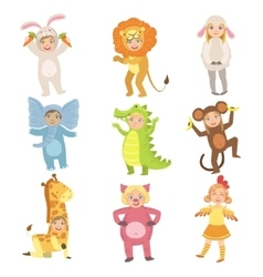 Kids In Animal Costumes Set vector image