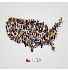Large group of people in united states of america vector
