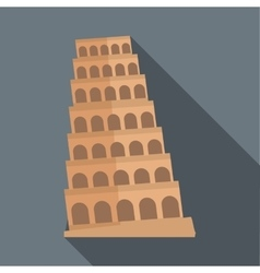 Leaning tower of Pisa icon flat style vector image