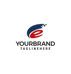 letter e logo tech style logo design concept vector image