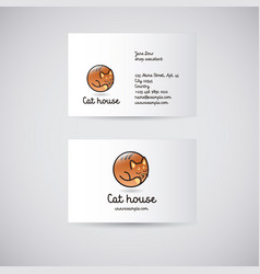 logo cat house vector image