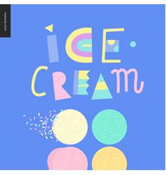 love spring ice cream lettering vector image vector image