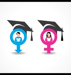 Male and female icons with graduate cap vector