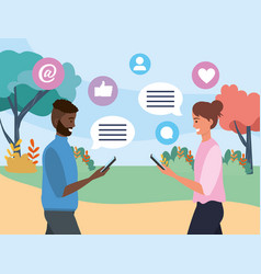 man and woman couple with chat bubble vector image