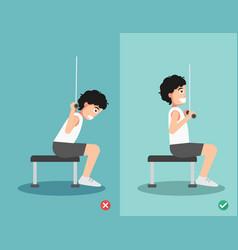 Man wrong and right lat pulldown posture vector
