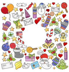 merry christmas pattern for holiday greeting cards vector image
