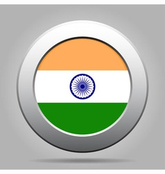 metal button with flag of India vector image