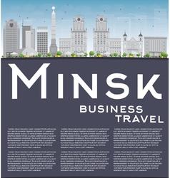Minsk skyline with grey buildings blue sky vector